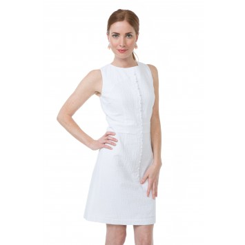 Scallop Dress: White Seersucker